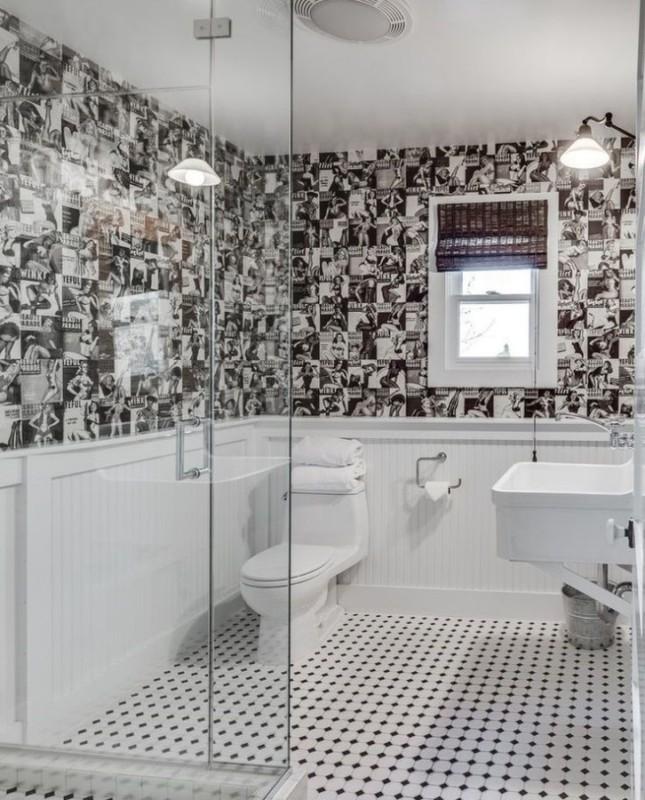 Ciekawy motyw na ścianie w łazience