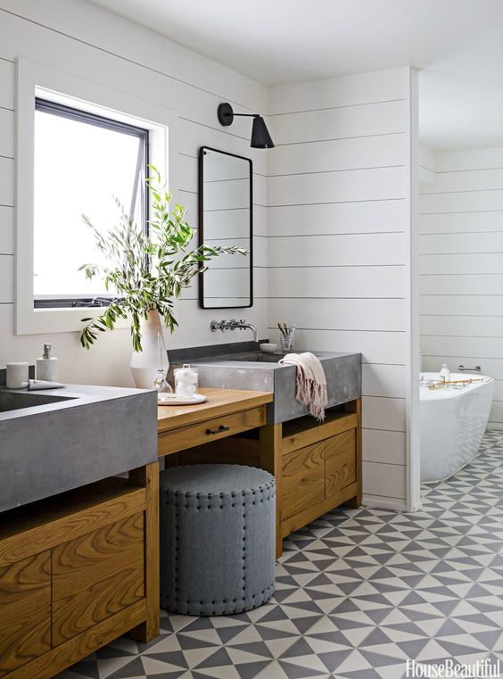 Szare betonowe umywalki
