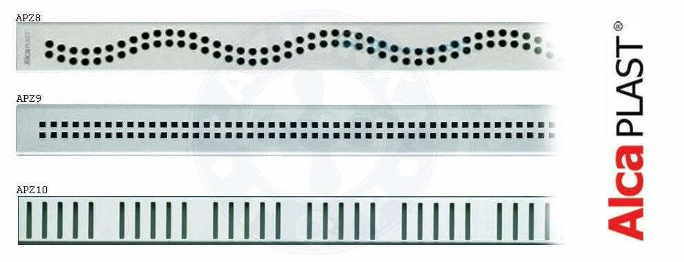 3 rodzaje rusztów ze stali odpływów liniowych Alcaplast