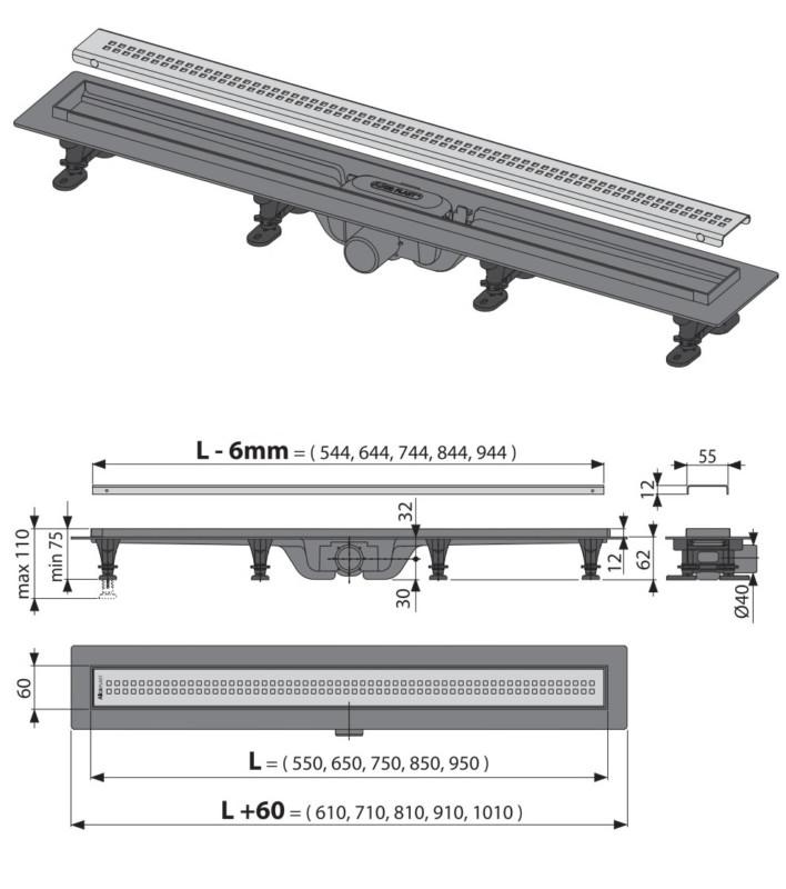 Alca APZ Simple rysunek techniczny wysokość zabudowy